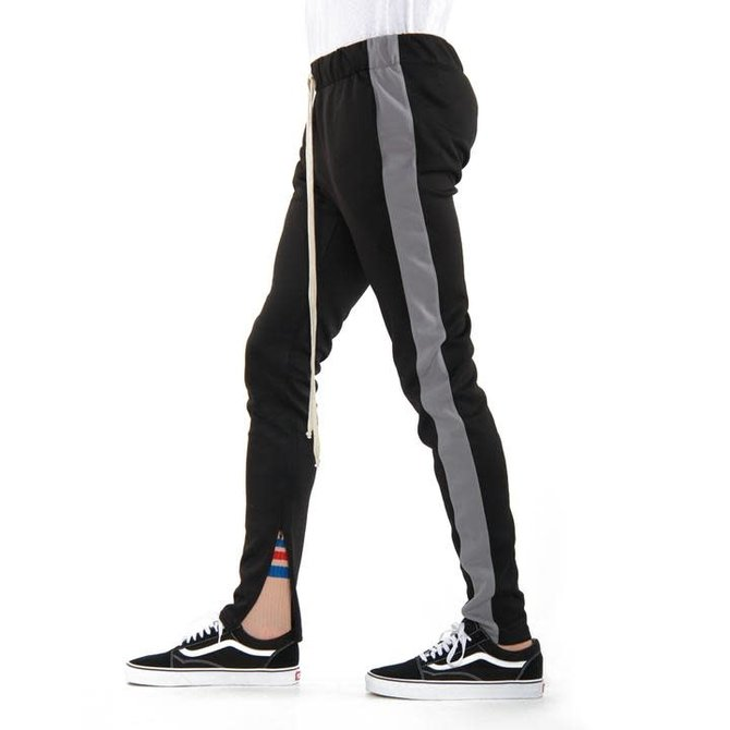 EPTM Track Pants 100% Poly Blk/Charcoal XS-28