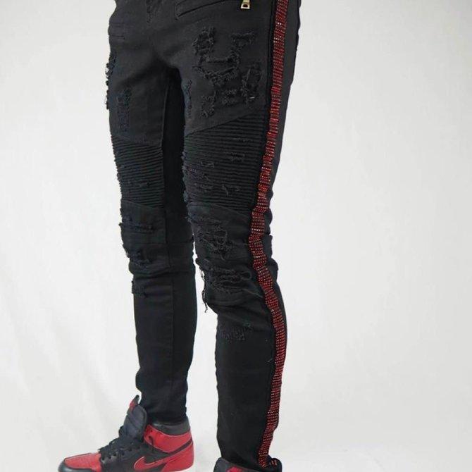 Preme Preme PR-WB-390 Black Moto Red Crystal Stripe