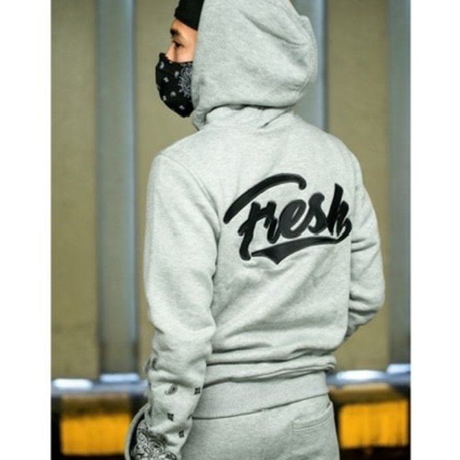 FRESH FRESH Paisley Cadet Zip Hoodie Grey/Black