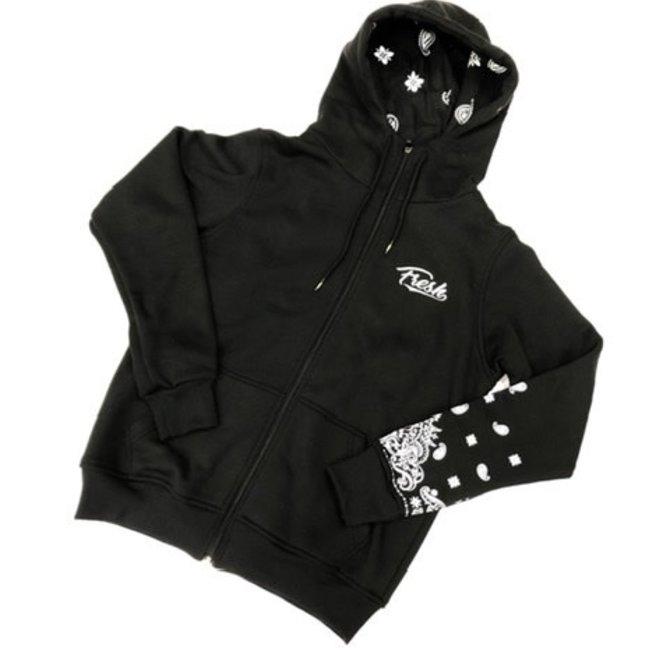 FRESH FRESH Paisley Cadet Zip Hoodie Black/White