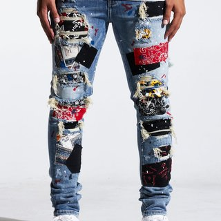 Embellish Embellish Rebel Rip & Repair Denim Blue Patchwork