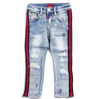 Haus Of JR Leonard Striped Denim Indigo Red