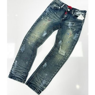 Haus Of JR Cruz Standard Denim Indigo Paint Splatter