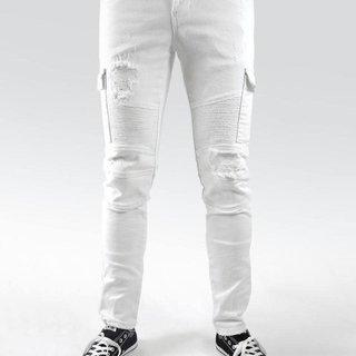 Preme Preme PR-WB-291 Cargo Jeans White