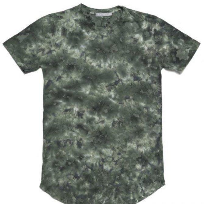 Entity Scallop Hem Knit Shirt Camo Tie Dye
