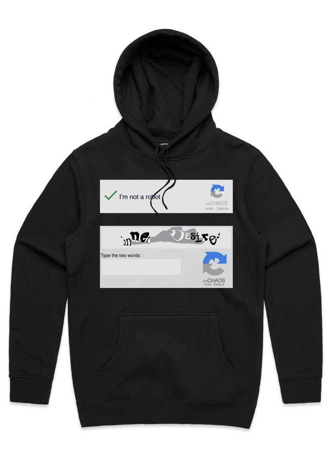 SECOND CHAOS X iD NOT A ROBOT HOODIE BLACK