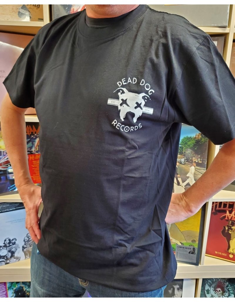 Dead Dog Records T-shirt 2019 - Crest Logo w/Biker Patch (Black) 2XL
