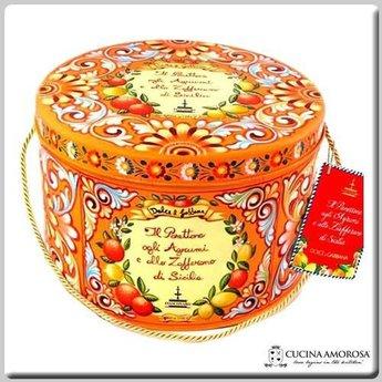 Fiasconaro Fiasconaro Sicilian Panettone with Candied Lemon, Mandarin, and Orange Peels, honey & Saffron - Dolce & Gabbana Tin (1 kg)