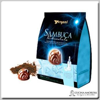 Vergani Crema Sambuca with Milk Chocolate Praline Bag (250g) 7 Oz