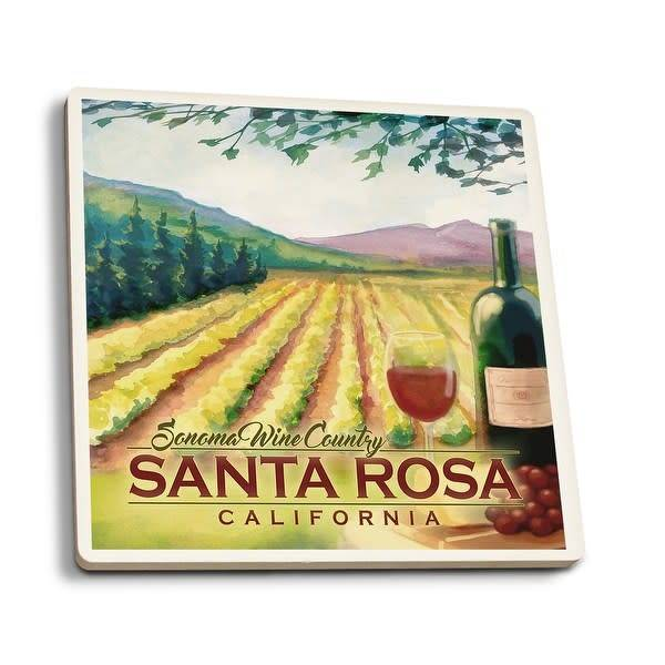 Lantern Press Ceramic Coaster/ Sonoma Wine Country