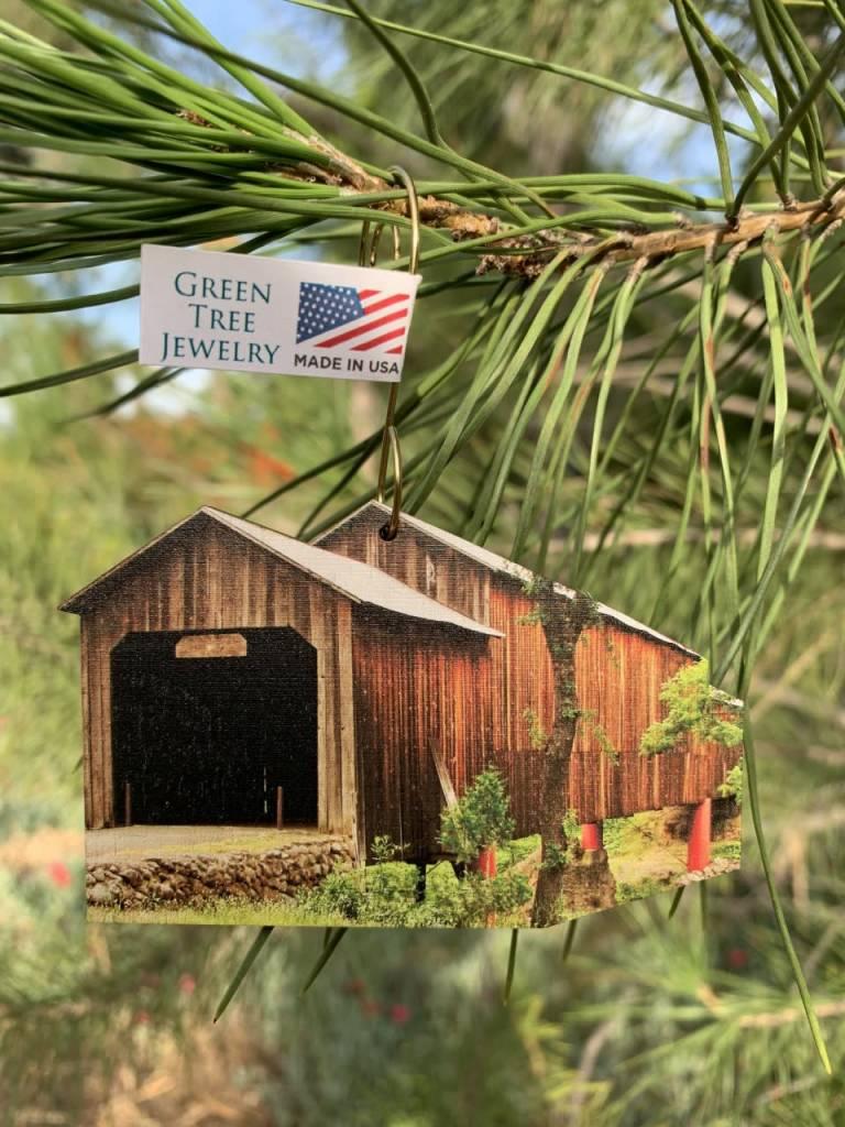 Green Tree Jewelry Ornament/ Honey Run Covered Bridge