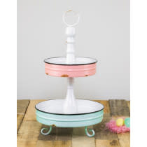 Hanna's Handiworks LLC Two Tier Display / Pink and Aqua