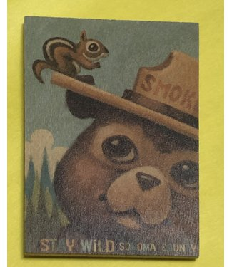 Lantern Press Wooden Magnet / Smokey the Bear and Squirrel