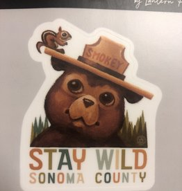 Lantern Press Sticker/ Smokey the Bear and Squirrel
