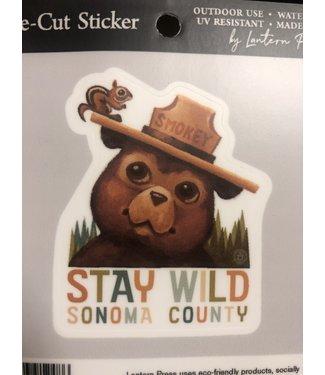 Lantern Press Sticker/ Smokey the Bear and Squirrel Stay Wild