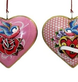 "Culturas Ornament/ 4"" Metal Heart Bird Rose"