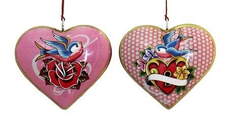 "Culturas Ornament/ 4"" Metal Heart Bird Rose"