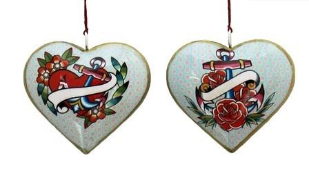"Culturas Ornament/ 4"" Metal Heart Tattoo Anchor"
