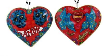 """Culturas Ornament/ 4"""" Metal Heart Amor Skulls"""