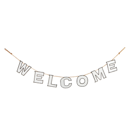 "Ganz / Midwest Black and White 78"" Enameled Welcome Pennant Banner"