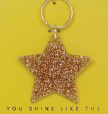 Lucky Feather Keychain / Glitter Star
