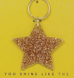 Lucky Feather Keychain / Glitter Star
