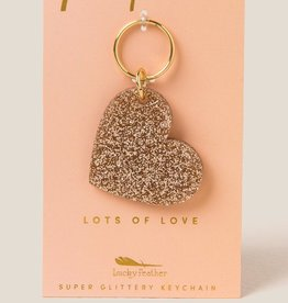 Lucky Feather Keychain / Glitter Heart