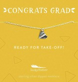 Lucky Feather Grad Necklace / Ready for Take-Off Silver Plane