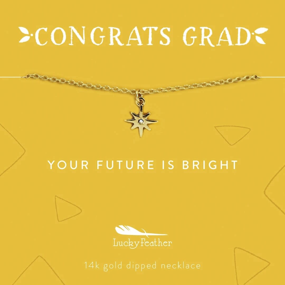 Lucky Feather Grad Necklace / Your Future is Bright Gold Sunburst