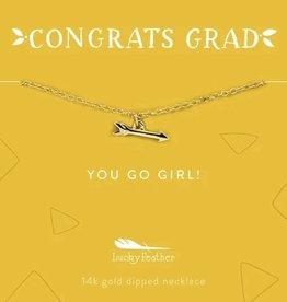 Lucky Feather Grad Necklace / You Go Girl Gold Arrow
