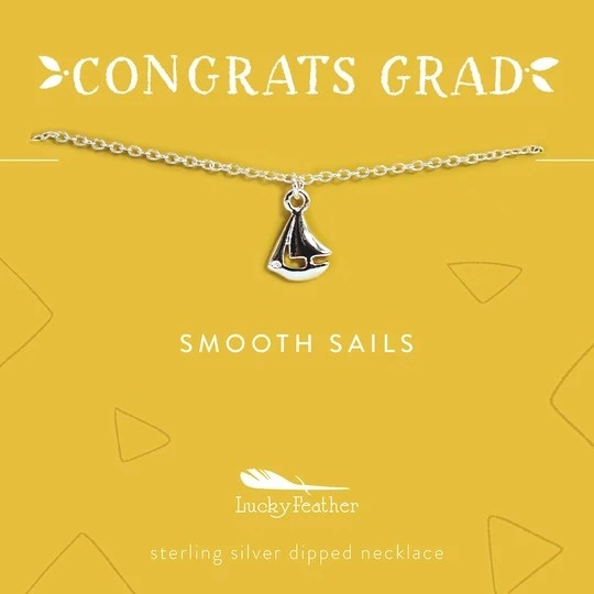 Lucky Feather Grad Necklace / Smooth Sails Silver Boat