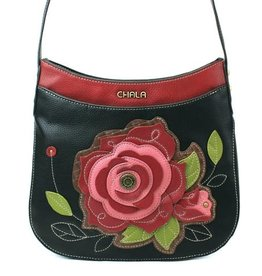 ChalaGroup Inc. Crossbody Crescent Purse/ Red Rose Black