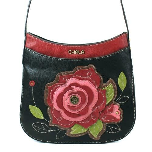 ChalaGroup Inc. Crossbody Crescent Purse/ Red Rose Black