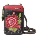 ChalaGroup Inc. Crossbody Wallet/ Red Rose Black