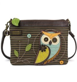 ChalaGroup Inc. Mini Crossbody Purse/ Owl Olive Stripe