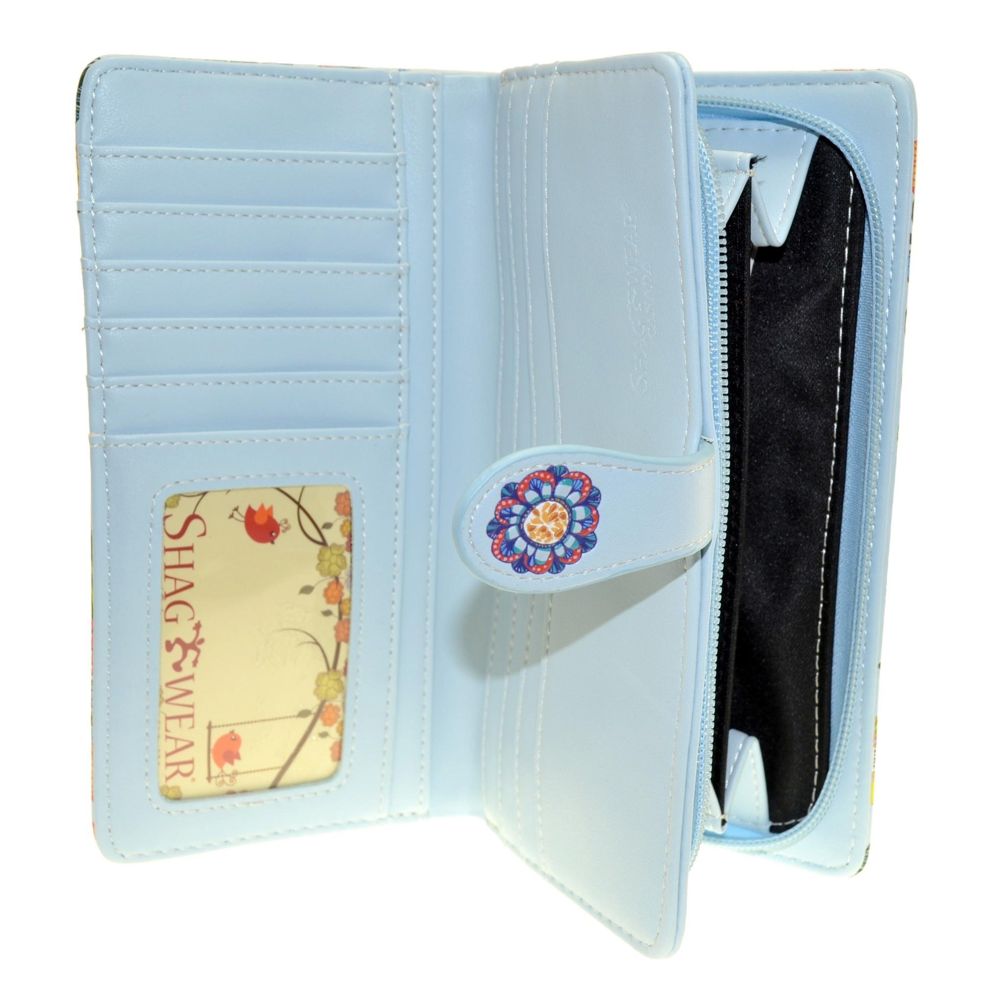 Shagwear Wallet/ Large, Love Floral Light Blue