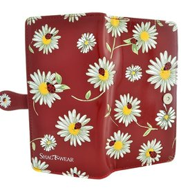Shagwear Wallet/ Large, Daisies and Ladybugs Red