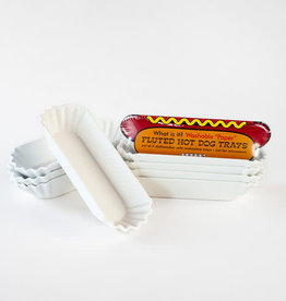 One Hundred 80 Degrees Melamine White Hot Dog Trays Set of 4