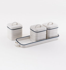 One Hundred 80 Degrees Canisters on Tray/ Porcelain Nantucket