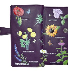 Shagwear Wallet/ Large, Wildflowers Plum