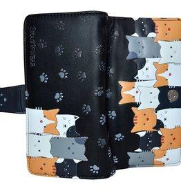 Shagwear Wallet/ Large, Kitty Crowd Black