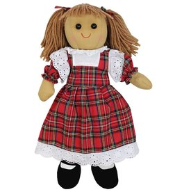Powell Craft Rag Doll with Red Tartan Print Dress