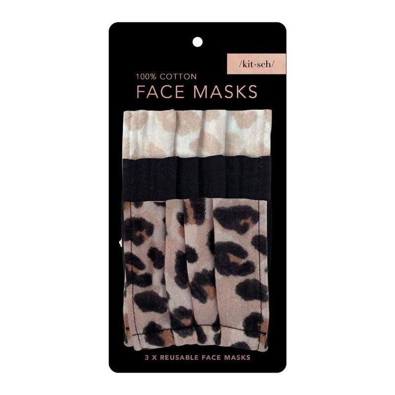 Kitsch Set of 3 Cotton Face Masks by Kitsch / Leopard