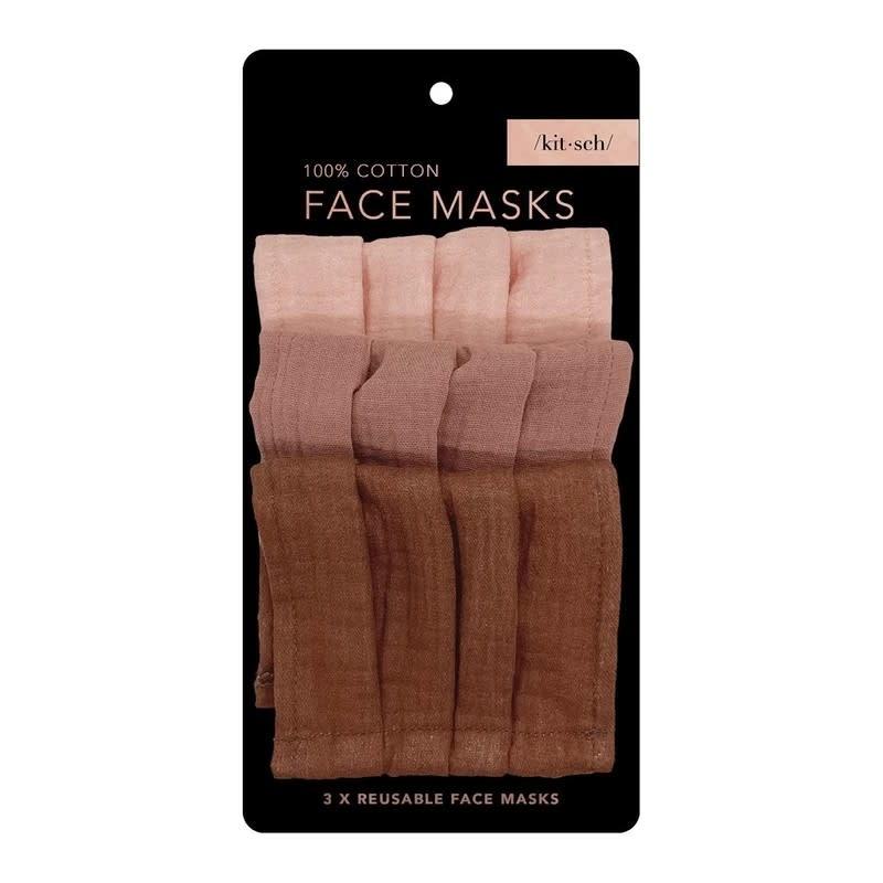 Kitsch Set of 3 Cotton Face Masks by Kitsch / Dusty Rose