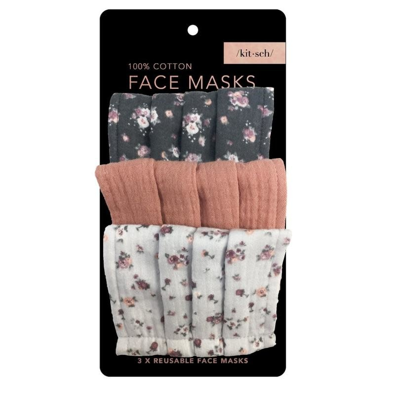 Kitsch Set of 3 Cotton Face Masks by Kitsch / Vintage Floral