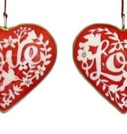 "Culturas Ornament/ 4"" Metal Heart Red Love"
