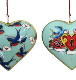 "Culturas Ornament/ 4"" Metal Heart Bird Love Letters"