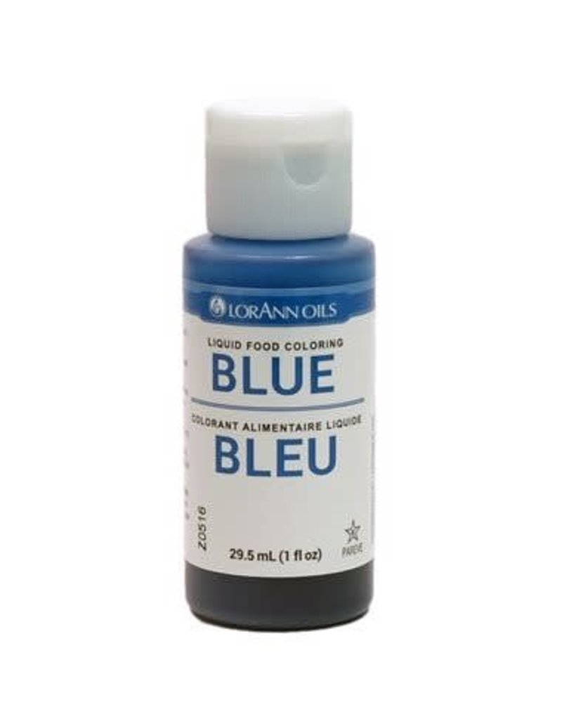 Lorann - Liquid Food Color, Blue - 1 oz, 1020-0500 - The Pastry Depot