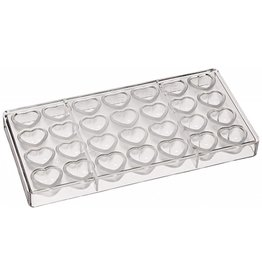 Fat Daddios Fat Daddio - Polycarbonate Chocolate Mold, Dimpled Heart (28 cavity), PCM-1701