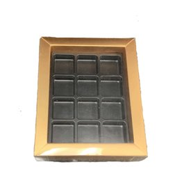 "The Pastry Depot Chocolate box - gold - 5.5x6.75x1.25"" (12 cavity)"